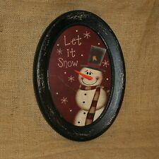 Let It Snow Snowman Oval Picture