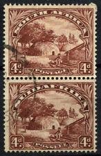 South Africa 1936 SG#46c, 4d Native Kraal Used Vert Pair #D55859
