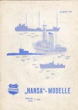 HANSA SCHIFFSMODELLE - SCHOWANEK  -  1/1960  SEHR SELTEN  (AGK472)