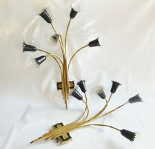 Paire d'Appliques Gerbe Fleurs 6 Feux Laiton Metal Maison Lunel 1950 XXXXL !