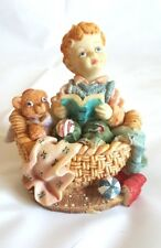 Boy in Basket Reading Book with Teddy Porcelain Ceramic Figurine Collectible 4""