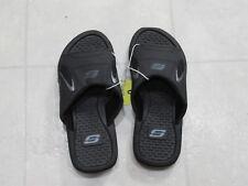 NWT Skechers Mens Memory Foam Comfort Strap Slide Shoe-Color-Black-Size-9