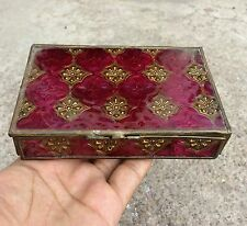 Vintage Glass & Brass Fitted Beautiful Jewellery Box