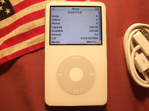 MINT iPod Video WHITE 5th 5.5th Gen 256GB 20000 tracks MADE IN USA >240GB/160GB
