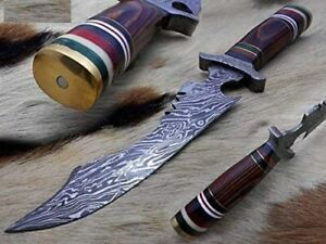 """12"""" long clip point fire pattern Damascus steel hunting knife with Sheath"""