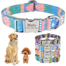 Dog Collar Personalized Adjustable Custom Engraved Pet Puppy Name Orange Fabric