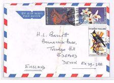 XX131 1972 THAILAND Bangkok Commercial Airmail Cover FLOWERS BIRDS Devon
