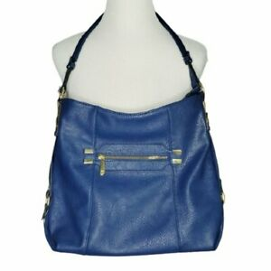 Dramatic Blue Large Roomy Carry-All Vegan Pebbled Leather Shoulder Bag Purse