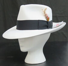 New Mens Small White Fedora Zoot Hat w/ Black Band Made in USA Prom King Pimp
