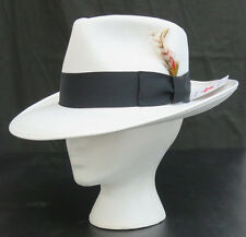 New White Fedora Zoot Hat w/ Black Band Trilby Wide Brim Made in USA Prom King
