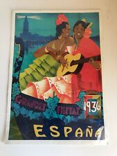 Vintage Grandes Fiestas 1936 Espana  Spain Poster - 42x30cm Old Stock