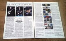 RUSH  'with love' 2 page interview UK ARTICLE / clipping