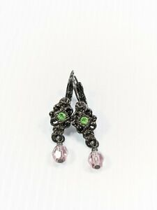 Gunmetal Gray Green Pink Vintage Style Dangle Earrings 13280