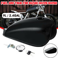 Motorcycle 9L 2.4 Gallon Fuel Gas Tank Cap Kit For Suzuki GN125 GN250 Black