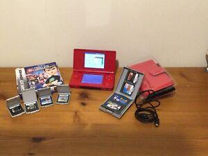Nintendo DS Lite Red Console + Case + 9 Games Bundle