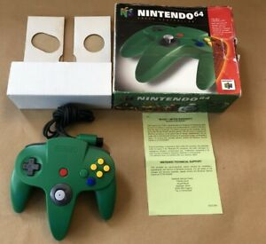 UK BOXED GREEN CONTROLLER+INSERT NINTENDO N 64 N64 PAL GENUINE OFFICIAL CONTROL