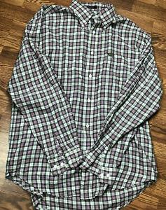Faconnable Mens Gray/Pink Plaid Button Down Shirt Size Medium Long Sleeve