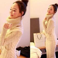 Ladies Girls Knit Long Sleeve Sweater Weave Dress Turtleneck OL  Pockets Coat