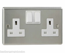 2-Gang Switches Brushed Plug Socket Home Electrical Fittings