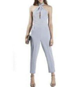 Topshop Dusty Blue Halter Neck Tapered Jumpsuit Size 6 Party Cocktail Wedding