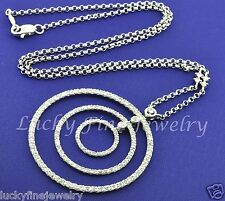 1.00 ct Natural Diamond Necklace Circle of Love  14K Solid white gold Rolo Chain