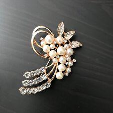 Vintage White Pearl Floral Rhinestone Crystal Brooch Pin