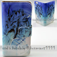 For Sony Xperia Series - Blue Dragon Theme Print Wallet Mobile Phone Case Cover
