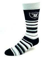 Oakland Raiders For Bare Feet Muchas Rayas Fuzzy Crew Socks