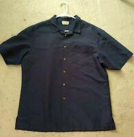 DOC & AMELIA Cintas Men's Blue Polyester Button Down Short Sleeve Shirt  L Large