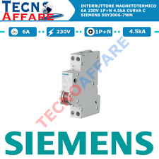 Interruttore Magnetotermico C6 230V 6A 1P+N 4.5kA Siemens 5SY3006-7WM