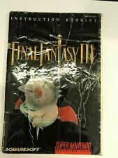 FINAL FANTASY III 3 MANUAL Super Nintendo Booklet Instructions -Fast Ship!