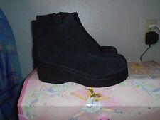 Vintage TAKE TEN Black Suede Leather Platform Boots Bootie Punk Goth Retro sz 10