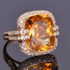 12.41 carat Golden Citrine Cusion Royale Ring