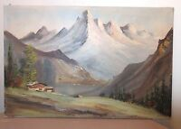 LARGE vintage original Ensel Salvi oil painting mountain landscape on canvas