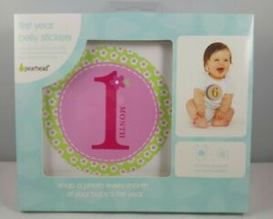 Baby Girl Milestones Belly Stickers Pearhead First Year Months 1-12 Photos NEW