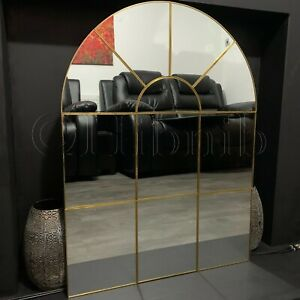 Enchanted Gold Arched Window Mirror Large Gold Window Style Wall Mirror 80x60