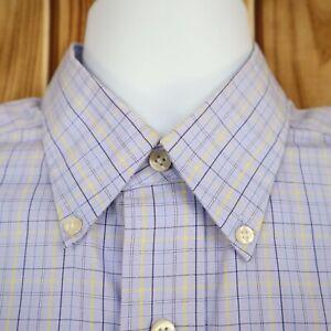 Chaps Dress Shirt Mens Sz L Blue Multicolor Plaid Button Down Collar Long Sleeve