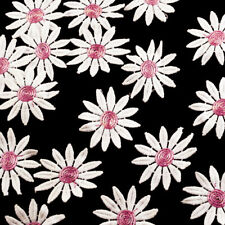 White and Pink Daisy Flower Lace Appliques - 15 Pieces
