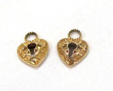 14K Yellow Gold 585 Charm Pendant Set of 2 Love Hearts Lock Padlock No Stone
