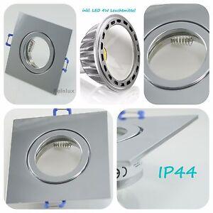 IP44 LED Spot Einbaustrahler Chrom eckig Einbauleuchte GU10 230V 4W Badleuchte