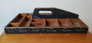 ANTIQUE WOOD TOOL HARDWARE SORTER CARRIER HAND PAINTED W/ 13 COMPARTMENTS