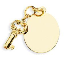 Neues Angebot14KT Gelbgold Detaillierte 3D Schlüssel Charm & Schlicht Oval Disc Anhänger Neu