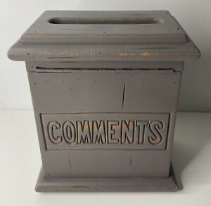 Vintage Comments Suggestion Solid Wood Slot Box Non Locking