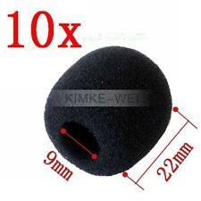 10 x Black Mini Microphone Headset Windscreen Foam Mic Cover 22x9 mm