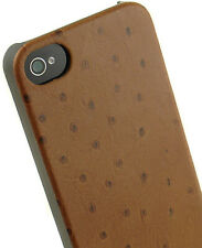 NEW LIMITED LUXURY BROWN LEATHER OSTRICH PRINT CASE COVER FOR APPLE iPHONE 4S 4