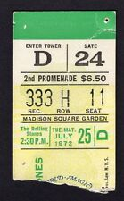 1972 Rolling Stones Concert Ticket Stub Madison Square Garden Exile on Main 7/25