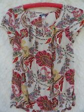 Old Navy Blouse L Rayon Ivory White Pink Green MINT