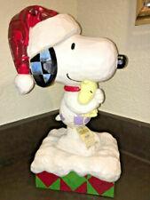 Jim Shore 2017 Christmas Peanuts Snoopy Woodstock Large Porch Greeter Sitter
