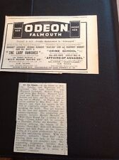 64-2 1939 Advert Falmouth Odeon Cinema Bogart Crime School The Lady Vanishes