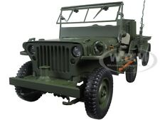 JEEP WILLYS ARMY GREEN WITH TRAILER AND ACCESSORIES 1/18 MODEL BY AUTOART 74016
